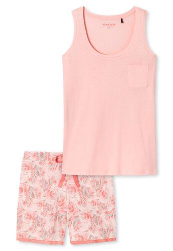 Schlafanzug kurz Top Shorts Palmen apricot-sorbet Schiesser 161044