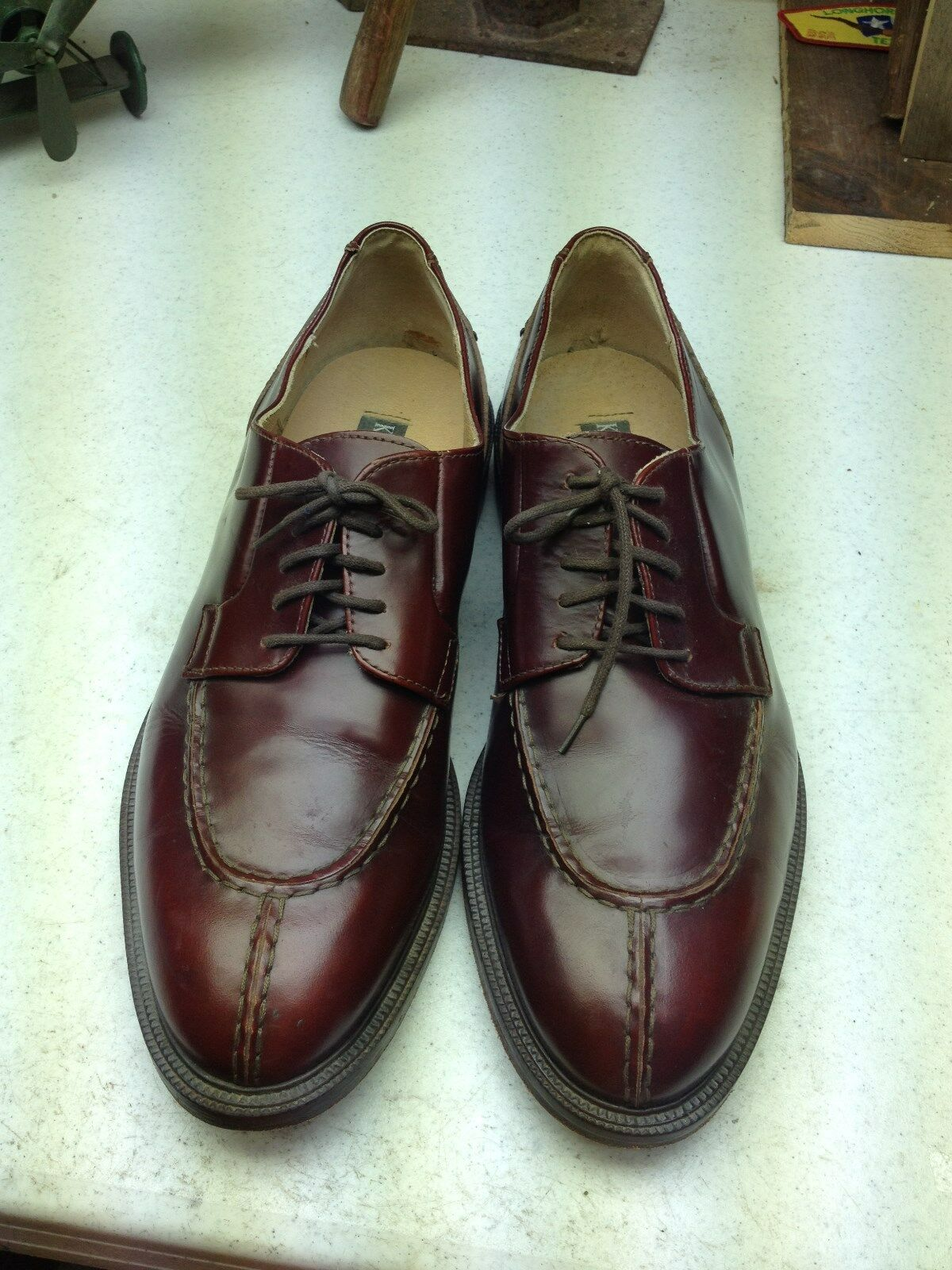 MADE IN UP ITALY KENNETH COLE BURGUNDY LEATHER LACE UP IN OXFORD BUSINESS SHOES 13 M 206ae6