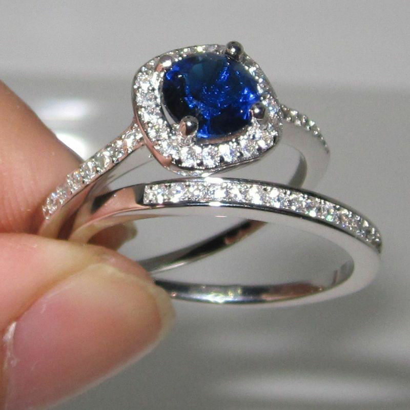 Certified 3.40CT Sapphire & Diamond Bridal Engagement Ring Set 10K White gold