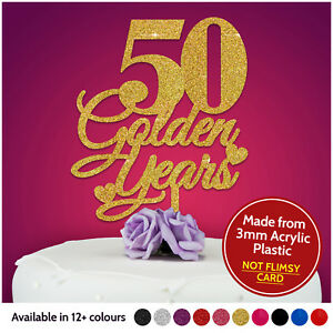 50th-Golden-PERSONALISED-Anniversary-Cake-Topper-Wedding-Cake-Topper-Decoration