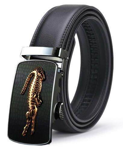 ITIEZY Ratchet Automatic Buckle Leather Belt Strap For Men Sliding Buckle