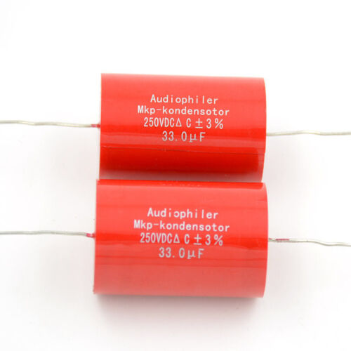 2pcs 33UF 250V Audiophiler MKP kondensotor Tubular Audio Coupling Capacitors
