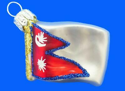 CROATIA MINI FLAG EUROPEAN BLOWN GLASS CHRISTMAS TREE ORNAMENT INTERNATIONAL