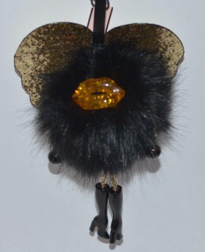 NEW VICTORIA/'S SECRET BLACK GOLD RUNWAY ANGEL WING POM KEYCHAIN CLIP FUZZY CHARM