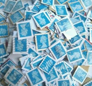 3500 2nd Class Blue Security Stamps Franked Used kiloware close trimmed