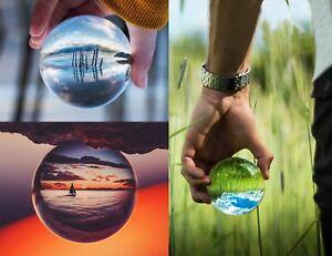 Qualitaet-Kristall-Klar-Kugel-Objektiv-Fotografie-Kugel-mit-Staender-amp-Samt-Geschenktuete