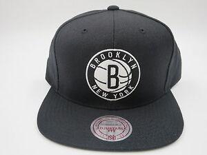 6a366da0424 Image is loading Brooklyn-Nets-Logo-Solid-Black-Wool-Mitchell-amp-