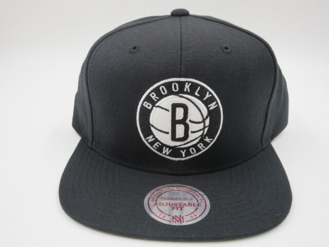 pretty nice f2c07 80643 ... canada brooklyn nets logo solid black wool mitchell ness nba retro snapback  hat cap afe6b 14fae