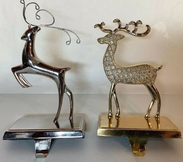 Silver And Gold Reindeer Mantel Stocking Hangers | eBay