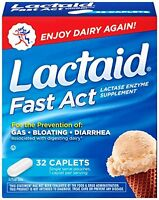 3 Pack Lactaid Fast Act Lactase Enzyme Supplement 32 Caplets Each on sale