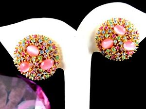 SIGNED-ART-GOLD-TONE-PINK-CABOCHON-PASTEL-MULTICOLORED-RHINESTONE-CLIP-EARRINGS