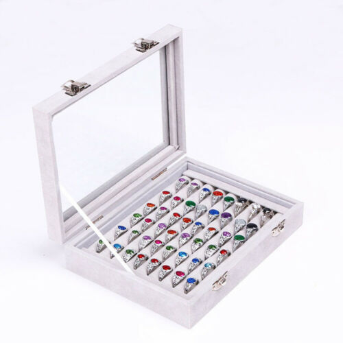 Wood Ring Earrings Necklaces Jewelry Box Case Organizer Glass Storage 5 Colors