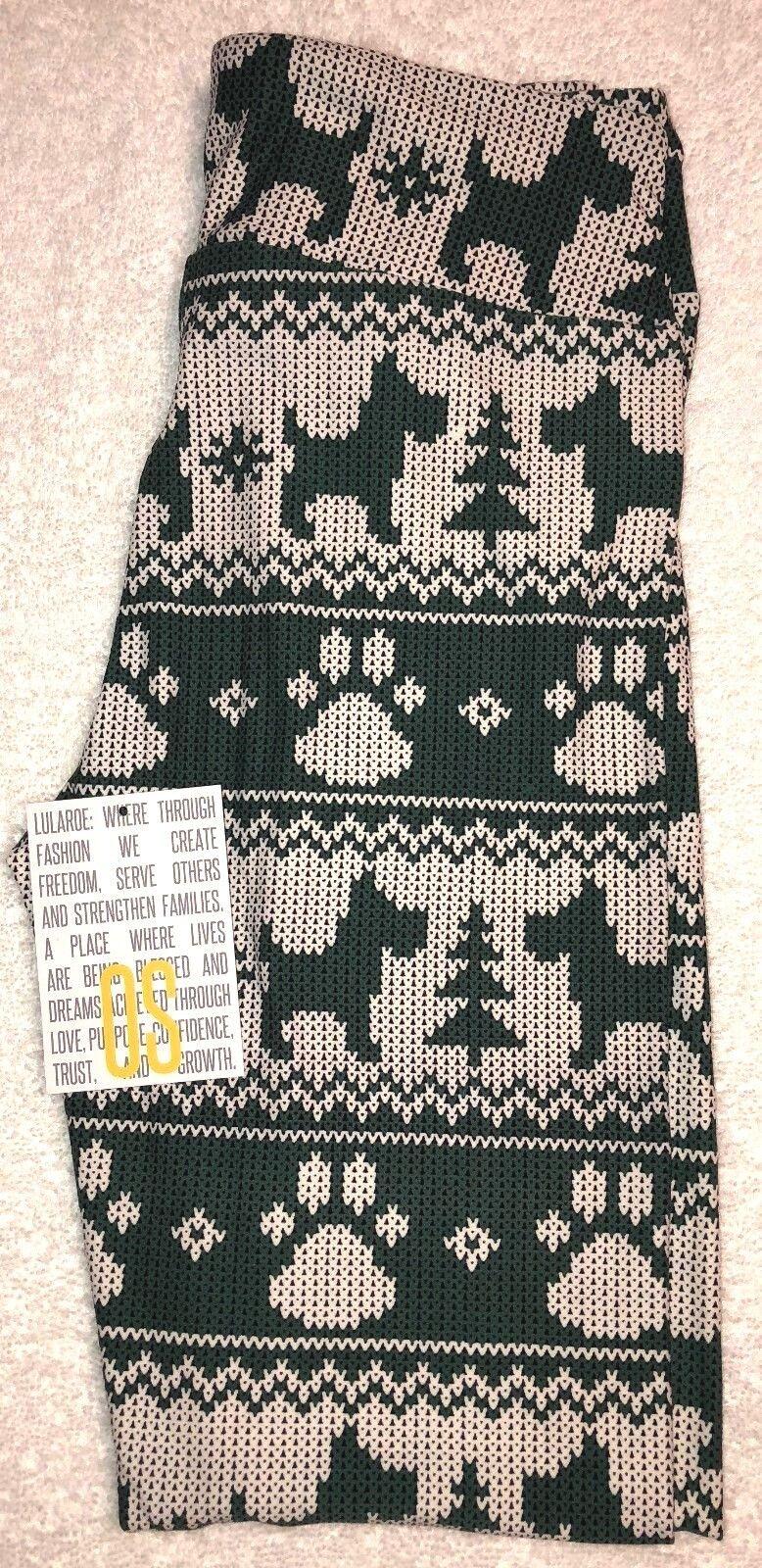 NEW LuLaRoe OS Christmas Holiday Merry Bright Green Scottie Dog Paw  Leggings