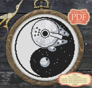 YinYang - Death Star Millenium Falcon Embroidery Cross stitch PDF pattern #005