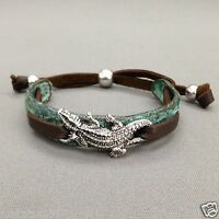 Bohemian Brown Leather Hammered Silver Alligator Decor Patina Plated Bracelet