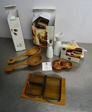 teak danish design Salatbesteck Salz Pfeffer Essig + Oel 4tlg. Tablett Kabarett