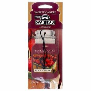 Black-Cherry-Yankee-Candle-Hanging-2D-Car-Jar-Air-Freshener-Odour-Neutralising