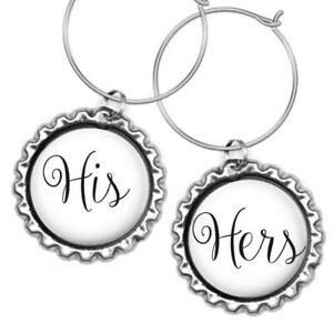 His & Hers Bottle Cap Wine Glass Charms Anniversary Wedding Shower ...