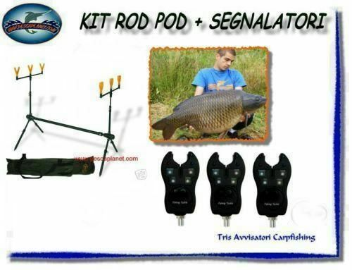 KP294 Pesca Kit PORTA CANNE ROD POD CARPFISHING + 3 AVVISATORI Audio Visivi RN
