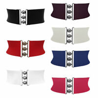 "NEW LADIES BLACK RED WHITE 3"" INCH WIDE ELASTICATED WAIST BELT STRETCH FASHION"