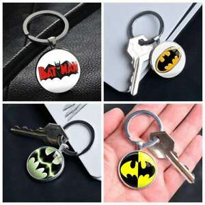 Comic-Superhero-Batman-Logo-keychain-Silver-Keyring-Pendants-Keychains-Gifts