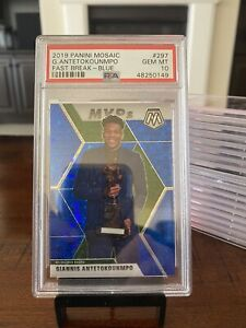 2019 Panini Mosaic Giannis Antetokounmpo Fast Break MVPs Blue /85 PSA 10 Low POP