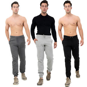 New-Mens-Fleece-Joggers-Tracksuit-Cuffed-Bottoms-Track-Sweat-Jogging-Pants-Size