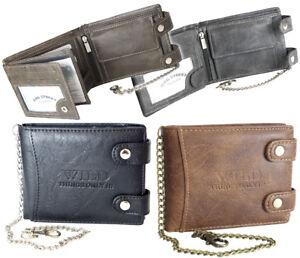 ebd8c75ae5e6e Das Bild wird geladen Herren-Geldboerse-Biker-Brieftasche-mit-Kette- Portemonnaie-Geldbeutel-