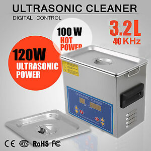 Stainless-Steel-3-2L-Liter-Industry-Heated-Ultrasonic-Cleaner-Heater-w-Timer-VIP