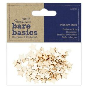 100 X MINI Papermania Bare Basics in legno stelle Card Making Scrapbooking crafts