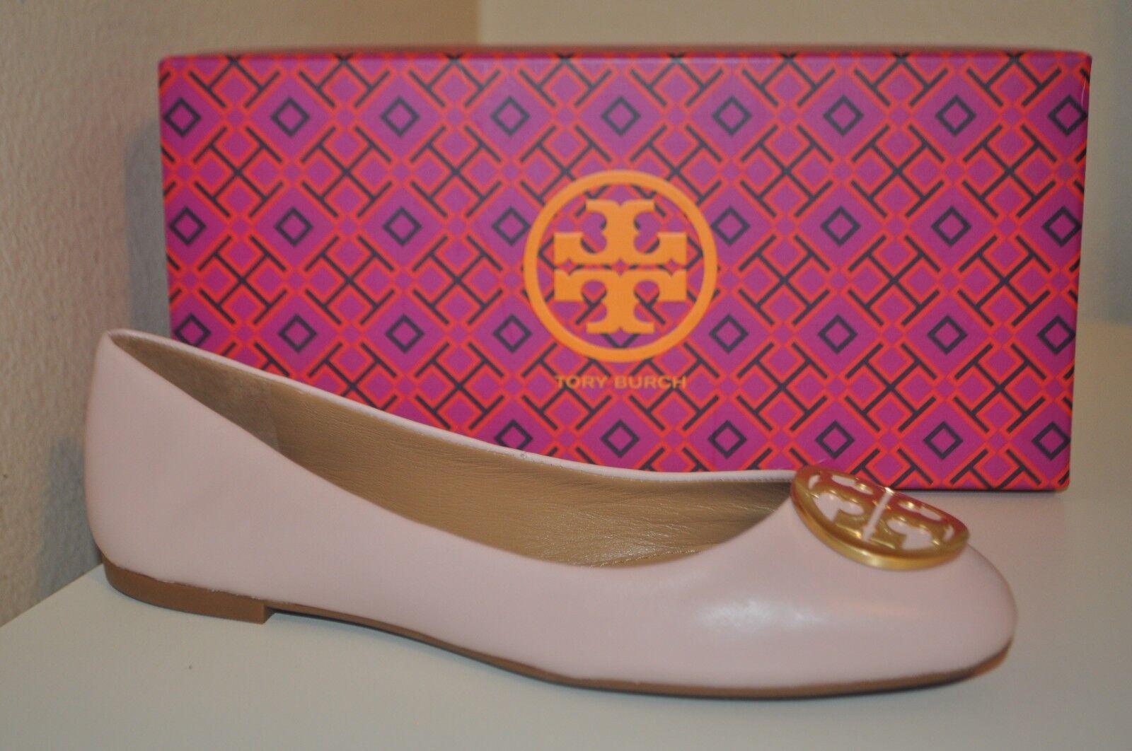 Nuevo En Caja Tory Burch Benton Ballet Zapato Zapato Zapato Plano oro Logo Sea Shell rosado De Cuero Talla 7.5 M  envio rapido a ti