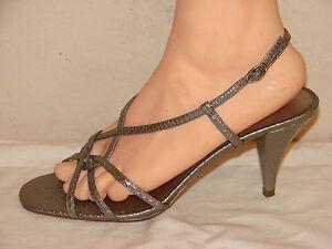 ce21fe1c84 Ann Taylor LOFT Womens Titanium Silver Snake Leather Slingback Heel ...