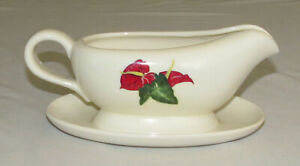 Santa Anita Ware Red Anthurium 8.5 inch Gravy Sauce Server with Attached Plate