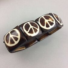 Peace Sign Bone Stretch Bracelet Brown White Bead Hippie Anti-War Movement Boho