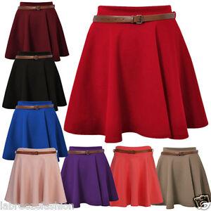 Labreeze-Ladies-Skater-Belted-Stretch-Waist-Plain-Flippy-Flared-Short-Skirt