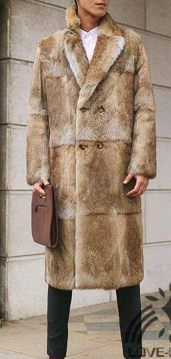Genuine men& 039;s rabbit fur coat XL tall men new w  tag furcoat fourrure pelliccia