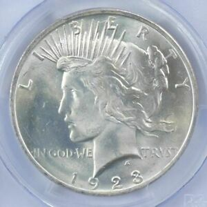 1-BU-1-1923-Peace-Silver-Dollar-Dripping-with-luster-Unc-MS-90-Bulk-amp-Save