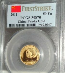 2011-CHINA-Panda-and-Cub-50-Yuan-1-10-oz-999-Gold-PCGS-MS70-First-Strike