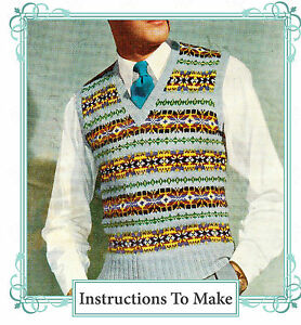2042618b9 Image is loading Vintage-1940s-fair-isle-mens-pullover-to-knit-