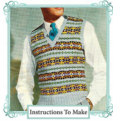 "Vintage 1940s fair isle mens pullover to knit,knitting pattern 4 ply,38-46"" chst"