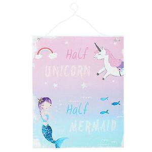 Demi Licorne Sirene Arc En Ciel Bleu Rose Tenture Metal Plaque