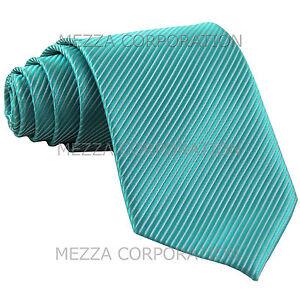 New-polyester-formal-Vesuvio-Napoli-stripes-neck-tie-prom-Turquoise-blue