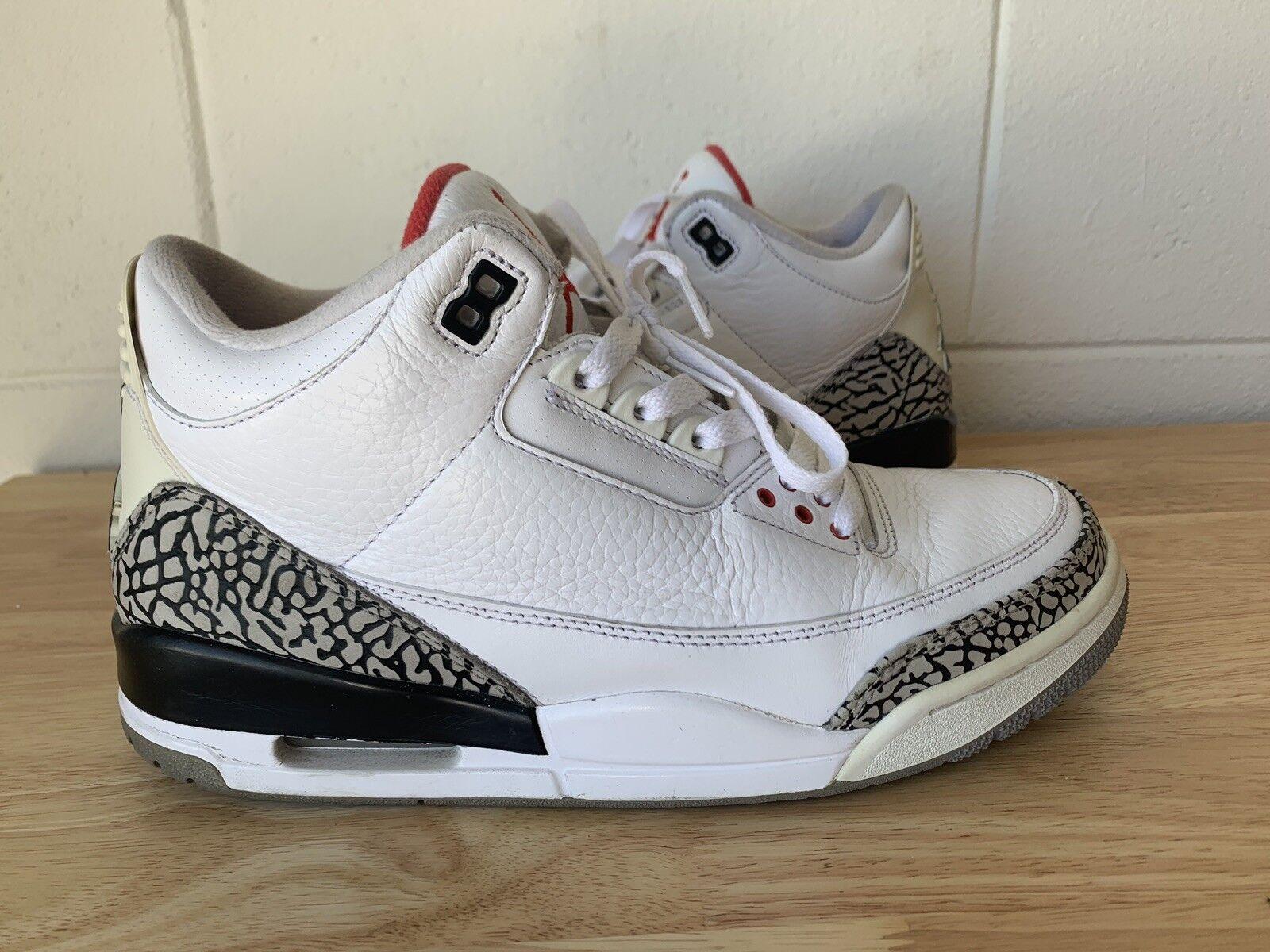 Air Jordan 3 Retro White Cement III 136064-105 Size 9 Used AJ3 Nike Authentic