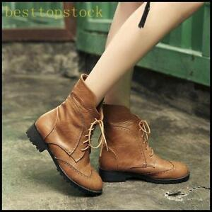 Womens-PU-Leather-Carved-Ankle-Boots-Lace-Up-Round-Toe-Autumn-Block-Riding-Shoes