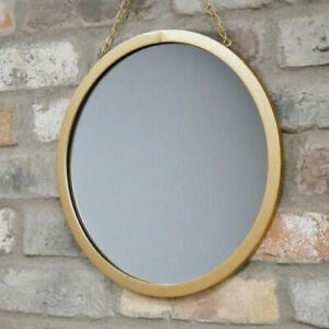 Round Gold Mirror Hanging Metal Chain Metallic Wall Art Deco Hallway Living Room 5060703885606 Ebay