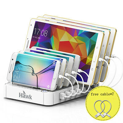 USB Multi Port Fast Wall Charger Quick Charging Station with Free Cable