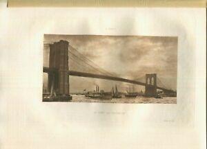 ANTIQUE VICTORIAN 19TH C NEW YORK BROOKLYN BRIDGE SAIL BOAT CRUISE SHIP PRINT