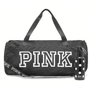 NEW VICTORIA S SECRET PINK FRIDAY 2018 BLACK DUFFLE GYM BAG   WATER ... 3cea88af2c041