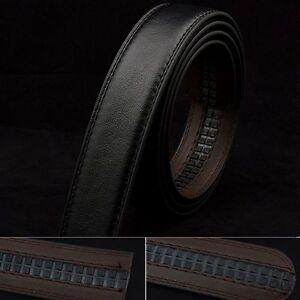 Fashion Men Black PU Leather Waistband Waist Strap Belt for Automatic No Buckle