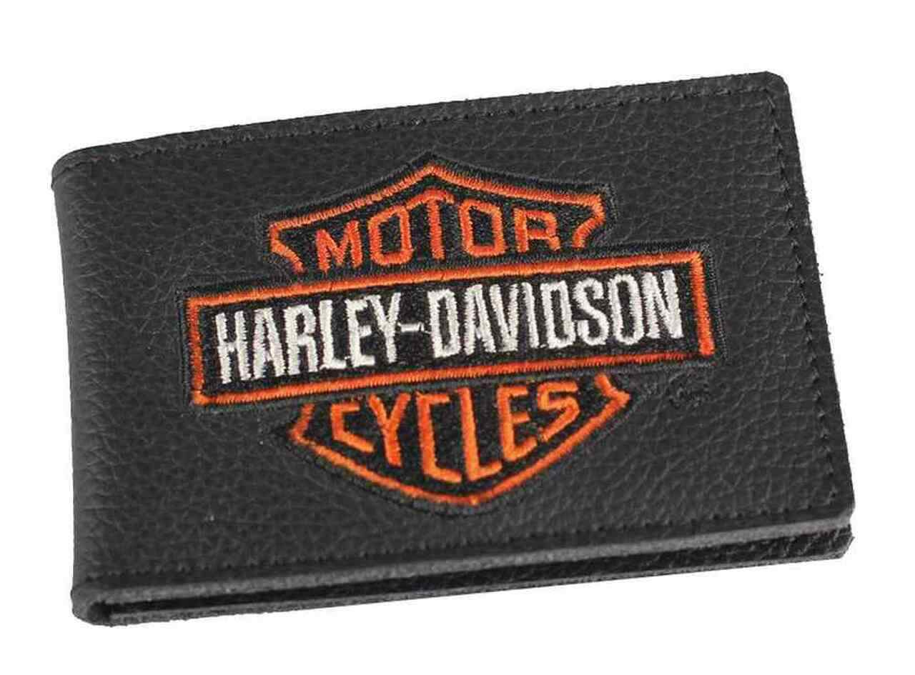 Harley-Davidson® Men's Embroidered B&S Duo-Fold Leather Wallet, XML4394-ORGBLK